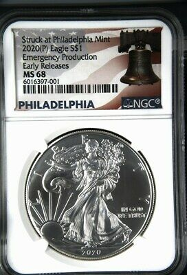 2020 (P) $1 American Silver Eagle NGC MS68 Emergency Production ER Liberty Bell