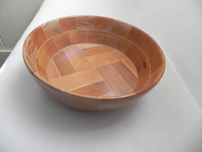 Handmade Artist Signed Cherry & Maple Wooden Bowl 68 Pieces Lyons NY 2003