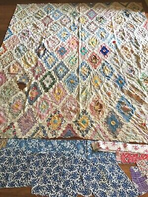 Vintage Grandmother's Flower Garden Quilt Top~Hand-Pieced + Xtra Fabric
