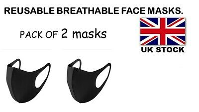 2 Packs  Everyday Face mask BLACK / Reusable/ Breathable (UK STOCK)