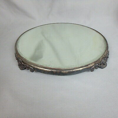 Vtg Round Mirrored Footed Tray w/ Silverplate Base, Dresser, Vanity, Plateau
