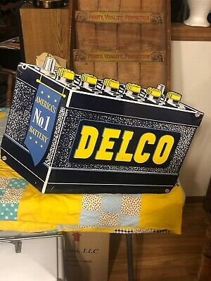Vintage Original Delco Batteries Double Sided Sign Not Porcelain Gas Oil NICE!