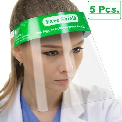 5 Pcs Reusable Safety Face Shield Full Protection Clear Anti-fog Visor Guard