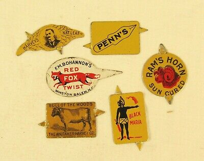 Vintage Tin Tobacco Tags Lot of 6 Very Good Condition