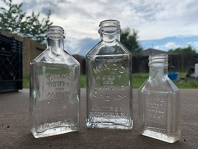 3 Vintage Bottles Hinds Honey And Almond Cream Glass Antique Collectible Jars