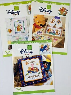 Lot Of 3 Disney Winnie The Pooh Cross Stitch Pattern Books