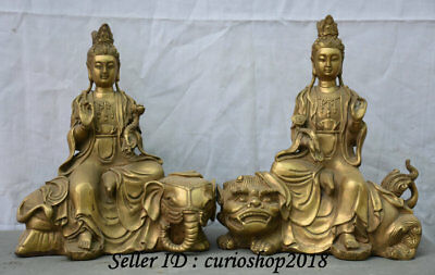 "10"" Chinese Brass Buddhism Wenshu Manjushri Puxian Goddess Ride Lion Statue Pair"
