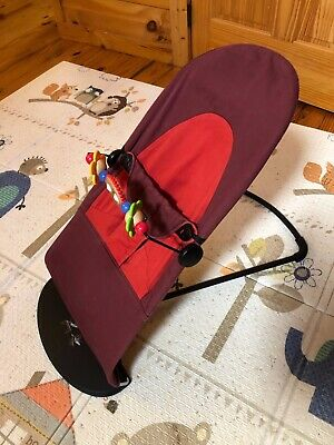 BabyBjorn Soft Bouncer Chair Red Cover GUC with Wooden Toy Bar