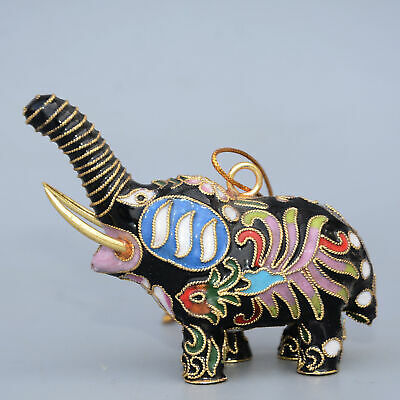 Collectable China Old Cloisonne Hand-Carve Lovely Elephant Delicate Decor Statue