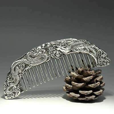 Collectable China Old Miao Silver Hand-Carved Myth Dragon Moral Bring Luck Comb