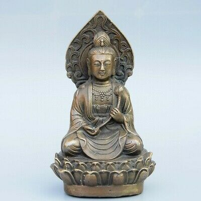 Collectable Chinese Old Bronze Carve Hand Hold Lotus Guan Yin Buddhism Statue