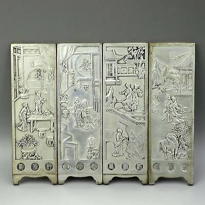 Collect China Old Miao Silver Hand-Carved Figurine & Scenery Decor Screen Statue