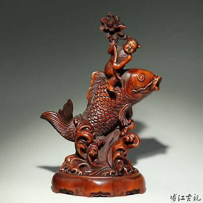 Collectable China Old Boxwood Hand-Carved Fairchild Ride Fish Auspicious Statue