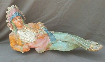 Antique Old Vintage Chalkware Native American Indian Chief Figure Sculpture