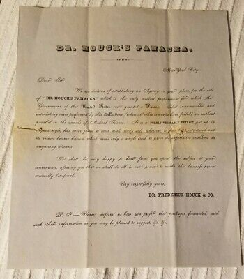 Dr. Houck's Panacea letter 1800's advertising claiming first medicine patent