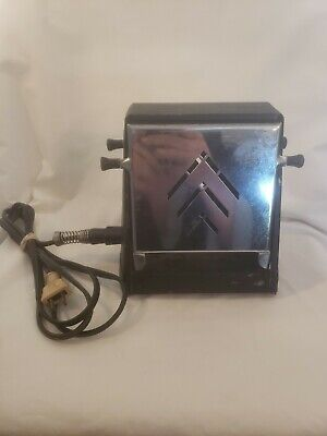 Antique Vtg Toaster w Cord Works Well Cool Vintage Chrome and Black Metal Toaste