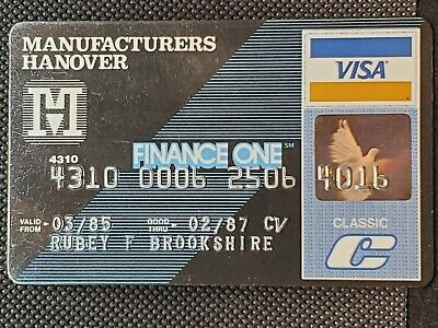 Manufacturers Hanover Visa Classic exp 1987♡Free Shipping♡cc1429♡