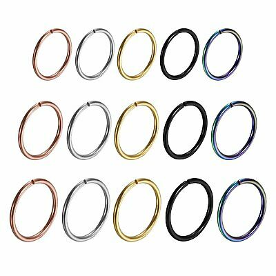 15pcs Stainless Steel Nose Cartilage Hoop Septum Ring Studs Body Piercing 8-10mm