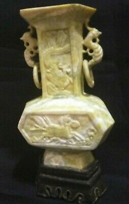 Big Chinese Jade Carved Dragon Ring Jadeite Stand+Statue Jade Qing Dynasty Jade