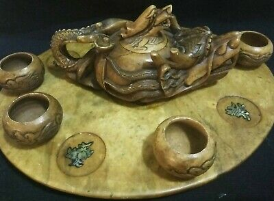 Chinese Miniature Japanese Mudman Jade Carved Pearl Tray Teapot Dragon Set Stone