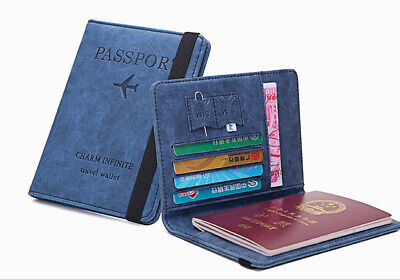 Passport Holder ID Bank Card Document Cover Case SIM Slot Banknote Wallet Travel