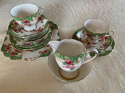 "bone china tea set Gladstone ""Rosewood""  Only 2 Tea cups,6 saucers,side plates"
