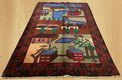 Authentic Hand Knotted Afghan Balouch Wall Hanging Wool Area Rug 5 x 3 Ft