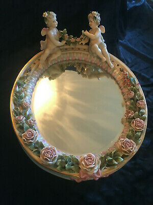 An Exquisite Vintage Porcelain Cherub And Roses Mirror Sitzendorf Style