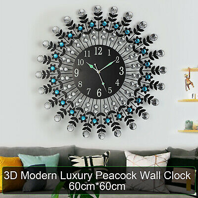 Large Modern 3D Crystal Wall Clock Luxury Round Dial Black Drops Home Office AU