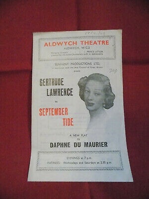 September Tide Programme, Aldwych Theatre, 1949 with Gertrude Lawrence