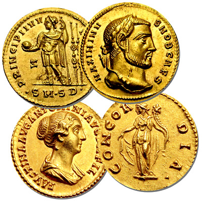 Roman Aureus Coins Drinks Coasters Set Of 4. High Quality Cork. Not Real Coins