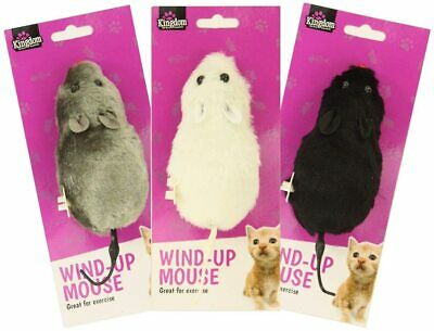 Large Wind Up Clockwork Mouse Rat Pet Cat Kitten Toy Black White or Grey 12cm