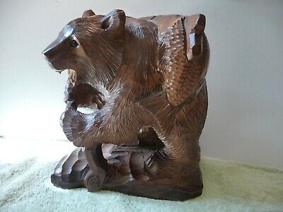Large Vintage Japanese Hand Made Carved Wood Black Forest Style Bear Salmon