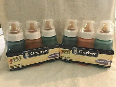 Lot of 6 Gerber First Essentials Baby Bottles 5oz Brown Silicone Nipples