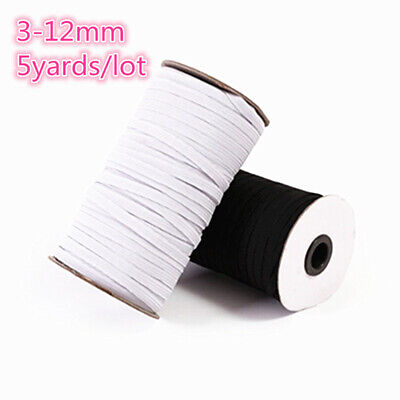 3-12mm 5 Yards Hight Elastic Bands Spool Sewing Band Flat Elastic Cord White
