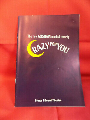 CRAZY FOR YOU 1994 London West End Musical Show Programme /Prince Edward Theatre