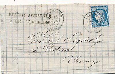 Lettre N°60 Obl Cad Angouleme Charente Credit Agricole Cover France