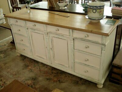Painted dresser base with polished pine top