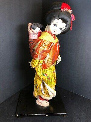 "Antique Ningyo Japanese Kimono Babysitter Cloth Doll - 18"" Tall"