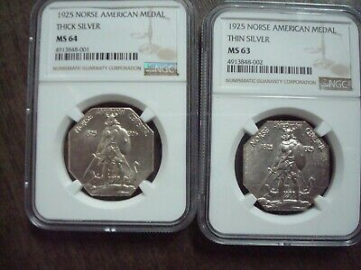 1925 Norse American Silver Medal Thick Thin Set Ms63 Ms64 Ms 63 64 Ngc Very Nice