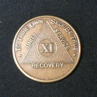 aa bronze alcoholics anonymous 11 year sobriety chip coin token medallion