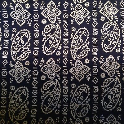 1980s VINTAGE sewing Midnight Blue Paisley Cotton Lawn Patchwork Craft fabric