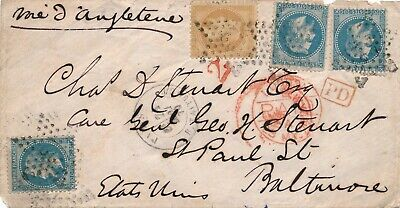 Lettre N°28,29X3 Paris Etoile Baltimore Cover United State