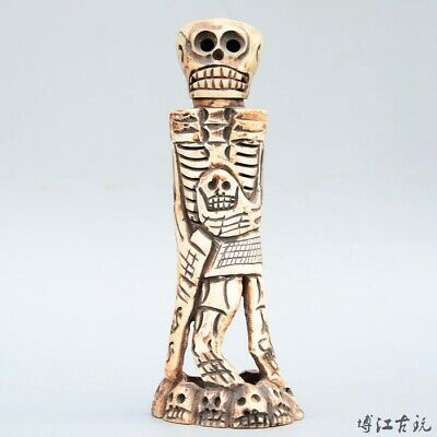 Collectable China Old 0x B0rn Hand-Carved Terrible Skull Delicate Decor Statue