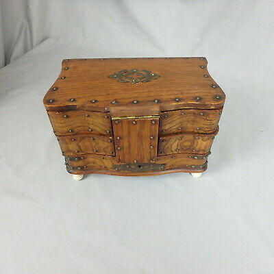 Antique Oak Swing Drawer Footed Jewelry Sewing Box w/ Brass Accents