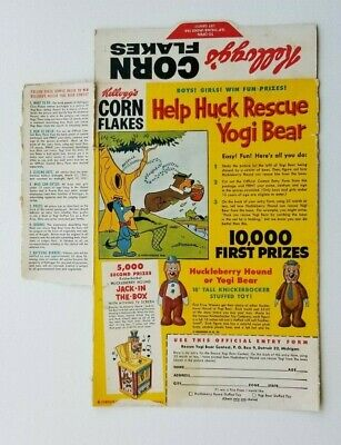 Vintage Kellogg's Corn Flakes Help Huck Rescue Yogi Bear Contest Cereal Box Back