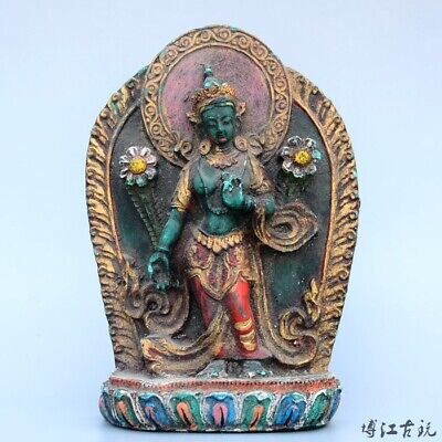 Collectable China Old Turquoise Hand-Carved Happy Buddha Delicate Decor Statue
