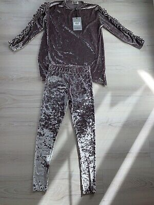 Girls Lily Grey Velvet Frill Arm Tracksuit Age 11-12 Brand New With Tags