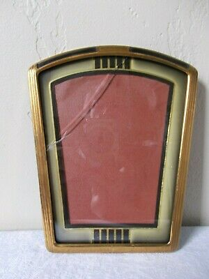Vtg Art Deco Style Picture Frame - Brass & Enamel with Celluloid Mat Approx. 5x7