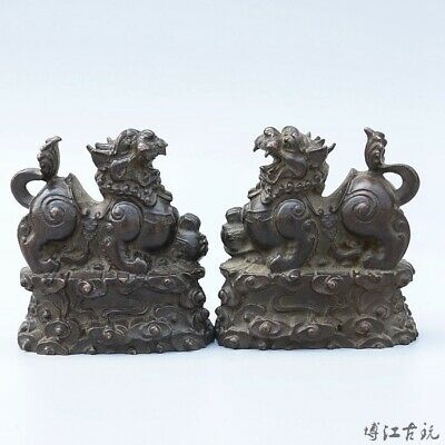 Collectable China Old Red Copper Hand-Carved Myth Lion Auspicious A Pair Statue